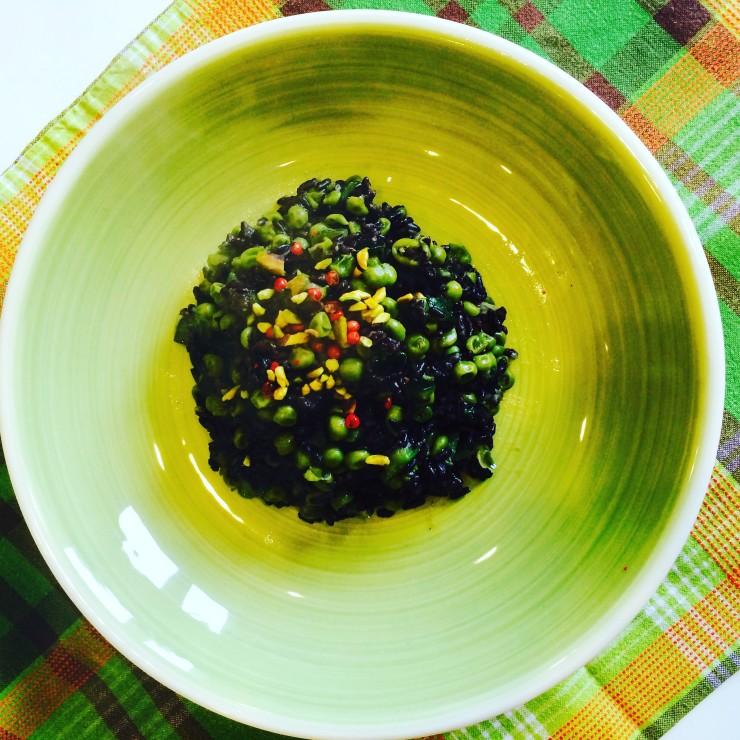 riso venere piselli e zucchine 2
