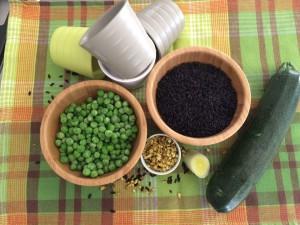 riso venere piselli e zucchine